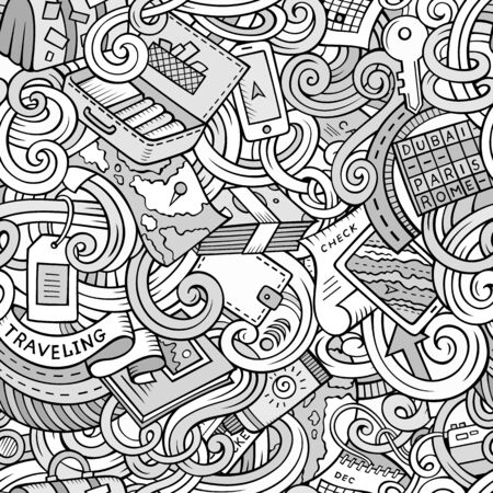 globe world: Cartoon cute doodles hand drawn travel planning seamless pattern. Contour detailed, with lots of objects background. Endless funny vector illustration. Line art backdrop. Illustration