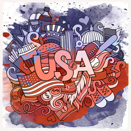 design objects: Cartoon vector hand drawn doodle USA illustration. Watercolor detailed design background with objects and symbols