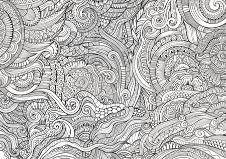 lineas decorativas: Resumen incompletos garabatos dibujados a mano decorativos patrón étnico. Contorno detallado, con una gran cantidad de líneas de fondo. Ilustración de la trama para colorear. Línea telón de fondo de arte con la naturaleza, los elementos florales.