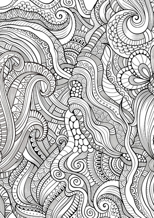 decorative lines: Abstract sketchy decorative doodles hand drawn ethnic pattern. Contour detailed, with lots of lines background. Raster coloring illustration. Line art backdrop with nature, floral elements. Stock Photo