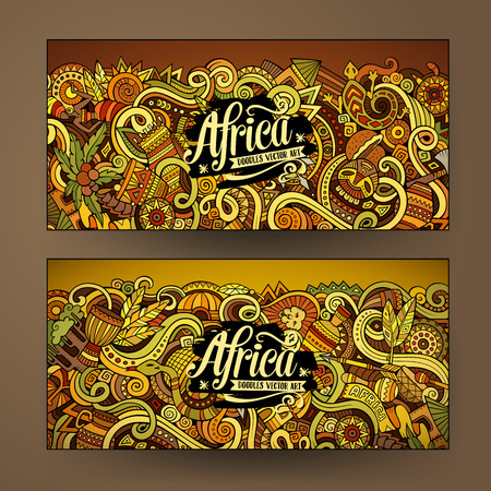themes: Cartoon cute colorful vector hand drawn doodles Africa corporate identity. 2 horizontal banners design. Templates set Illustration