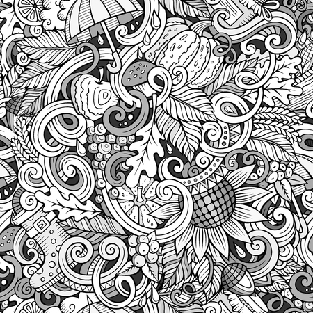 wet leaf: Cartoon cute doodles hand drawn autumn seamless pattern. Monochrome detailed, with lots of objects background. Endless funny vector illustration. Line art backdrop with fall season symbols and items