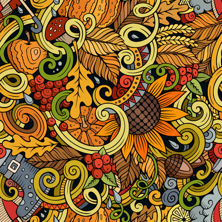 Cartoon cute doodles hand drawn autumn seamless pattern. Colorful detailed, with lots of objects background. Endless funny vector illustration. Color backdrop with fall season symbols and items
