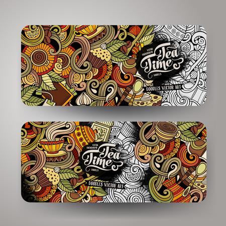 만화 다채로운 벡터 손으로 그린 낙서 카페 기업의 정체성입니다. 2 가로 배너 디자인입니다. 템플릿이 설정되었습니다.