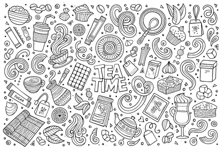 teatime: Line art vector hand drawn doodle cartoon set of tea and coffee theme items, objects and symbols