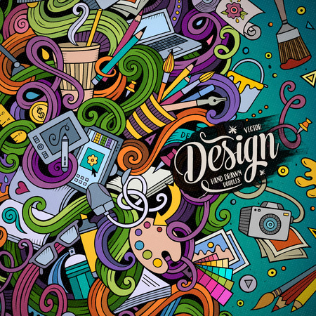 Cartoon cute doodles hand drawn design frame concept. Colorful detailed, with lots of objects background. Funny vector illustration. Bright colors border with designer theme items Иллюстрация