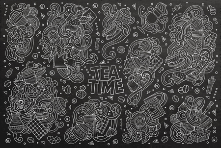 teatime: Chalkboard vector hand drawn doodle cartoon set of tea and coffee theme items, objects and symbols