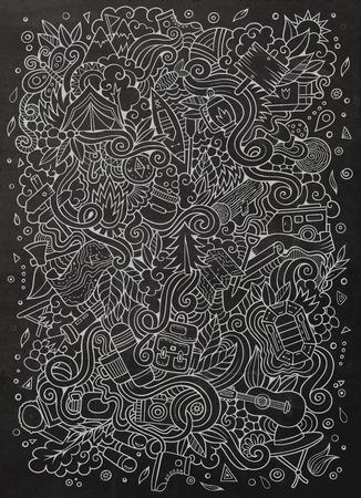 Cartoon disegnati a mano scarabocchi campeggio illustrazione. Lavagna dettagliato, con un sacco di oggetti di disegno vettoriale sfondo