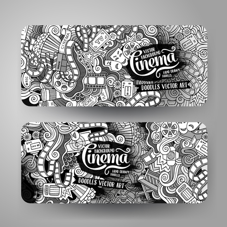 business concepts: Cartoon vector hand-drawn sketchy trace Doodle on the subject of cinema. 2 Horizontal banners design templates set