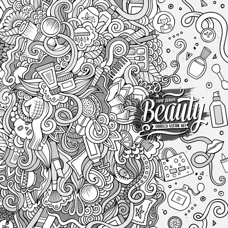 frame border: Cartoon cute doodles hand drawn cosmetics frame design. Line art detailed, with lots of objects background. Funny vector illustration. Sketchy border with beauty theme items