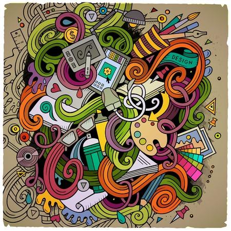 teclado de computadora: garabatos lindo dibujo animado dibujado a mano ilustración de diseño. Colorido detallado, con una gran cantidad de objetos de fondo. obra divertida del vector. Los colores brillantes cuadro con el tema artístico