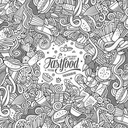 fastfood: Cartoon nguệch ngoạc dễ thương vẽ tay thiết kế khung lương thực. dòng nghệ thuật chi tiết, với nhiều nền đối tượng. Vui vector minh họa. biên giới sơ sài với các hạng mục chủ đề fastfood