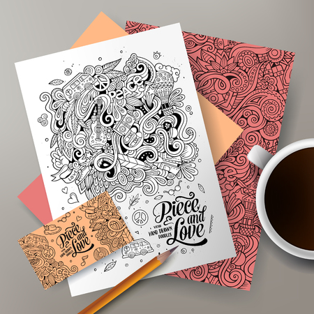 Cartoon cute line art vector hand drawn doodles Hippie corporate identity set. Templates design of business card, flyers, posters, papers on the table.