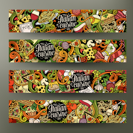 Cartoon cute vector hand drawn doodles italian food corporate identity. 4 horizontal colorful banners design. Templates set