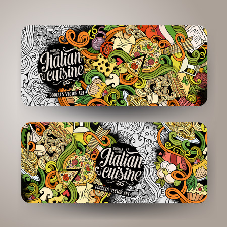 Cartoon cute vector hand drawn doodles italian food corporate identity. 2 horizontal line art banners design. Templates set Ilustração