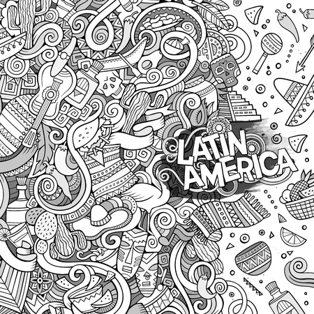 latin american: Cartoon cute doodles hand drawn latinamerican frame design. Line art detailed, with lots of objects background. Funny vector illustration. Sketchy border with Latin America theme items
