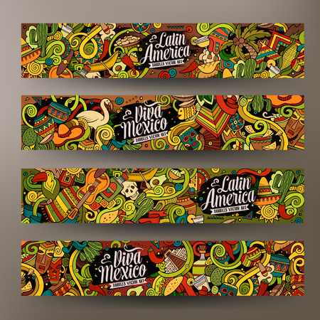 Cartoon cute colorful vector hand drawn doodles Latin America corporate identity. 4 horizontal banners design. Templates set Çizim