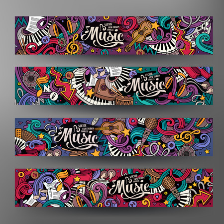 Cartoon colorful vector hand drawn doodles music corporate identity. 4 Horizontal banners design. Templates set