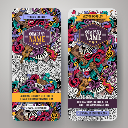 radio: Cartoon colorful vector hand drawn doodles music corporate identity. 2 vertical banners design. Templates set