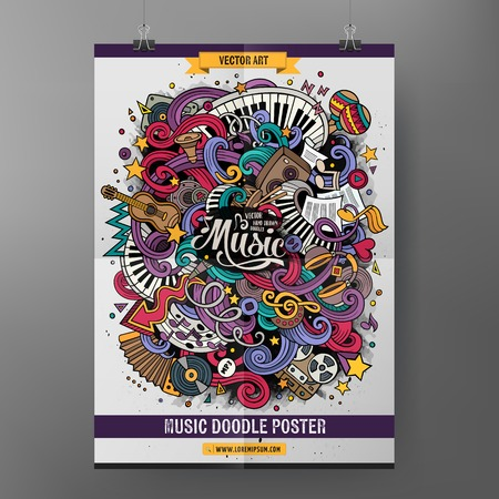 Cartoon Kolorowe ręcznie rysowane Doodles muzyczny plakat szablon. Bardzo szczegółowe, z dużą ilością obiektów muzycznych ilustracji. Funny grafiki wektorowej. Corporate design tożsamości.