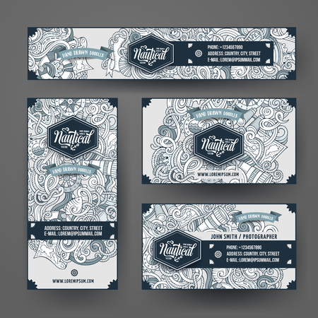 Corporate Identity vector templates set design with doodles hand drawn nautical theme. Line art banner, id cards, flayer design. Templates set