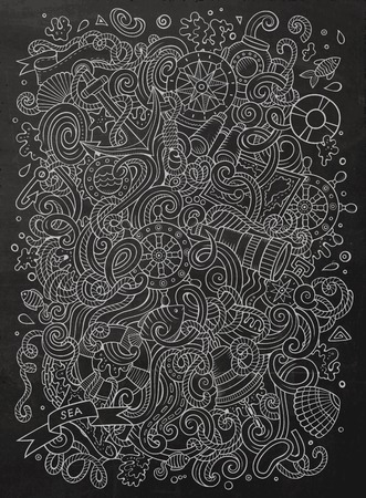 sail fin: Cartoon cute doodles hand drawn marine illustration. Line art detailed, with lots of objects background. Funny vector artwork. Chalkboard picture with nautical theme items. Illustration