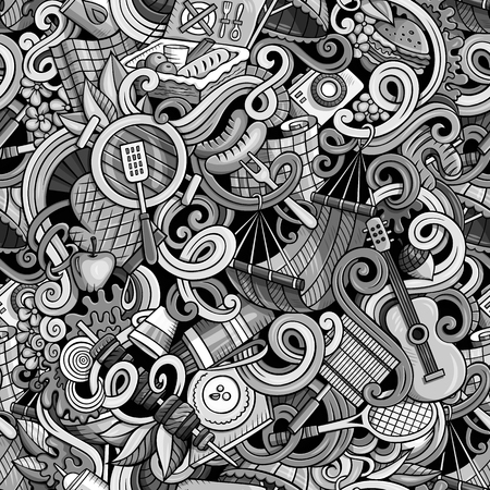 tint: Cartoon cute doodles hand drawn picnic seamless pattern. Monochrome detailed, with lots of objects background. Endless funny vector illustration. Tint colors bbq backdrop.