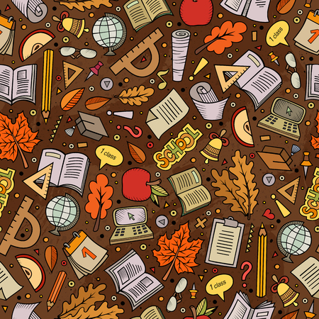 semester: Cartoon cute hand drawn Back to school seamless pattern. Colorful detailed, with lots of objects background. Endless funny vector illustration. Bright colors backdrop with education items. Illustration