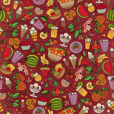plant to drink: Cartoon cute hand drawn summertime seamless pattern. Colorful detailed, with lots of objects background. Endless funny vector illustration. Bright colors backdrop with summer food items.