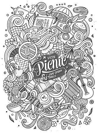 Cartoon griffonnages mignon dessiné à la main conception du cadre de pique-nique. Line art détaillé, avec beaucoup d'objets de fond. Drôle illustration vectorielle. frontière Sketchy avec des éléments thématiques de la nature Vecteurs