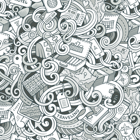 pattern background: Cartoon cute doodles hand drawn travel planning seamless pattern. Contour detailed, with lots of objects background. Endless funny vector illustration. Line art backdrop. Illustration
