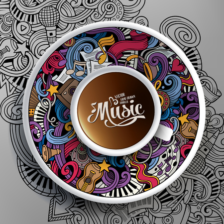 Vector illustration with a Cup of coffee and hand drawn musical doodles on a saucer and on the background
