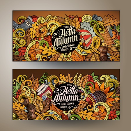 wet leaf: Cartoon cute colorful vector hand drawn doodles Autumn corporate identity. 2 horizontal banners design. Templates set