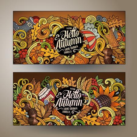 fruit basket: Cartoon cute colorful vector hand drawn doodles Autumn corporate identity. 2 horizontal banners design. Templates set