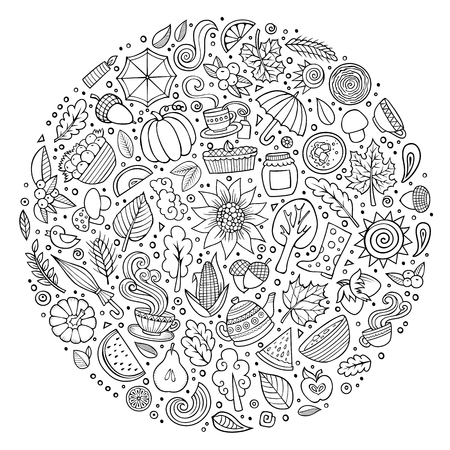 oak trees: Line art vector hand drawn doodle cartoon set of Autumn objects, symbols and items. Round composition