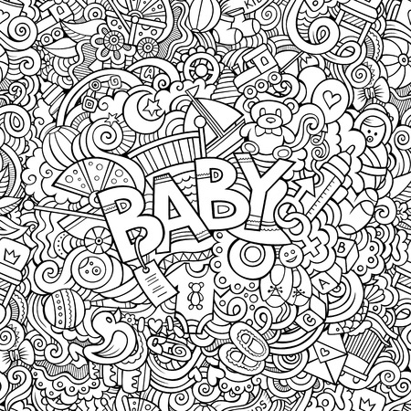 Cartoon vector hand drawn Doodle Baby illustration. Line art detailed design background with objects and symbols Illustration