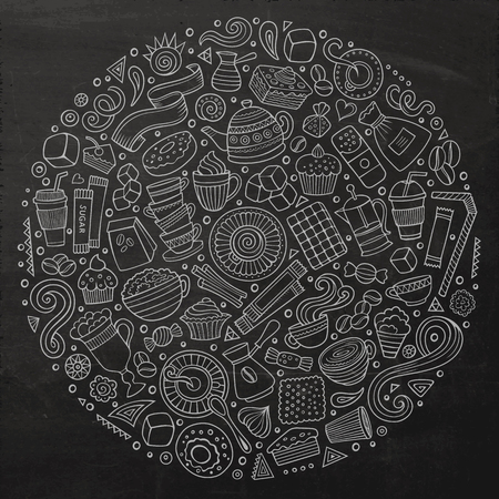 teatime: Chalkboard vector hand drawn set of Cafe cartoon doodle objects, symbols and items. Round composition