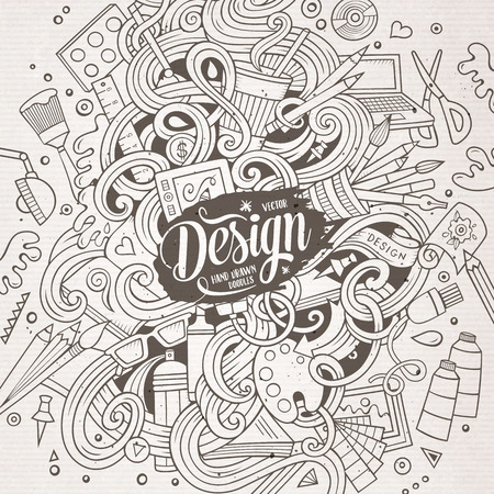illustrators: Cartoon cute doodles hand drawn Design illustration. Line art detailed, with lots of objects background. Funny vector artwork. Sketchy picture with Artistic theme