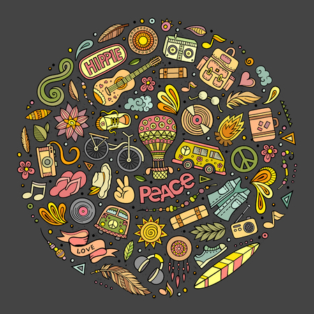 Colorful vector hand drawn set of Hippie cartoon doodle objects, symbols and items. Round composition