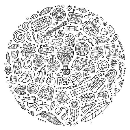 Bunte Vektor Hand gezeichnet Set von Hippie Cartoon-Doodle Objekte, Symbole und Elemente. Runde Zusammensetzung Standard-Bild - 60378347