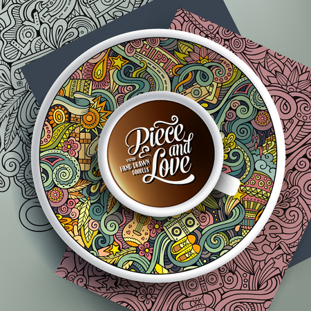 bezel: Vector illustration with a Cup of coffee and hand drawn hippie doodles on a saucer, on paper and on the background Illustration
