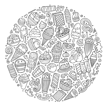 composition art: Line art sketchy vector hand drawn set of Ice Cream cartoon doodle objects, symbols and items. Round composition