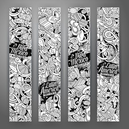 machu: Cartoon cute line art vector hand drawn doodles Latin American corporate identity. 4 vertical banners sketchy design set Illustration