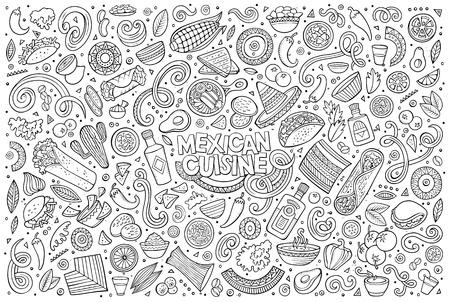 라인 아트 벡터 손으로 그린 낙서 만화 멕시코 음식 테마 항목, 개체 및 기호 집합