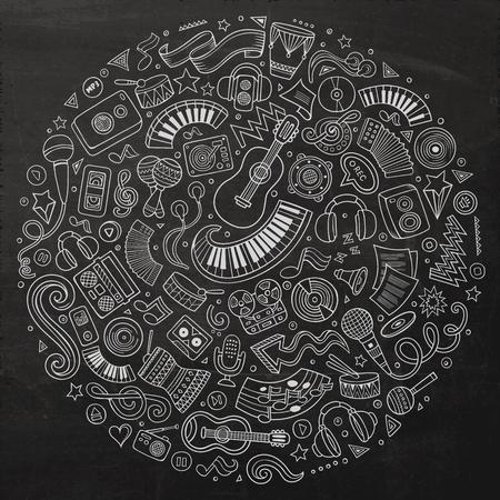 Ensemble de vecteur de tableau dessinés à la main des objets, des symboles et des objets de doodle de dessin animé musical. Composition ronde