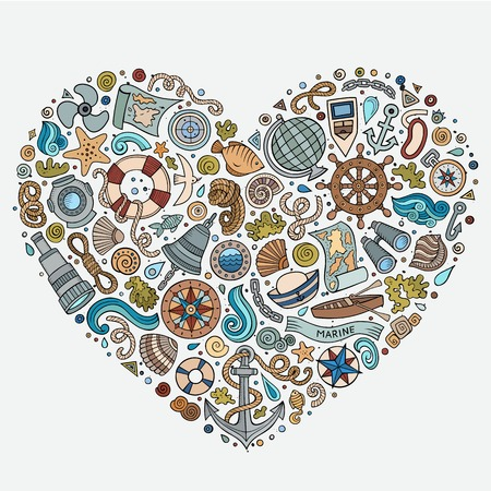 Colorido vector dibujado a mano conjunto de marina, objetos náuticos bosquejo de dibujos animados, símbolos y elementos. composición de la forma del corazón