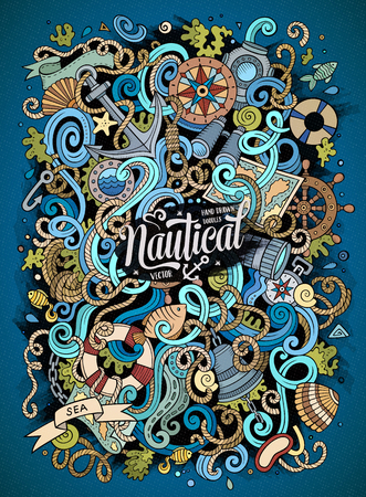 sail fin: Cartoon cute doodles hand drawn marine illustration. Colorful detailed, with lots of objects background. Funny vector artwork. Picture with nautical theme items.