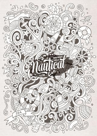 bussola: Cartoon carino scarabocchi disegnati a mano illustrazione marino. Line art dettagliato, con un sacco di oggetti di sfondo. grafica vettoriale divertente. immagine Sketchy con oggetti a tema nautico.