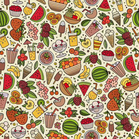 Cartoon cute hand drawn summertime seamless pattern. Colorful detailed, with lots of objects background. Endless funny vector illustration. Bright colors backdrop with summer food items.