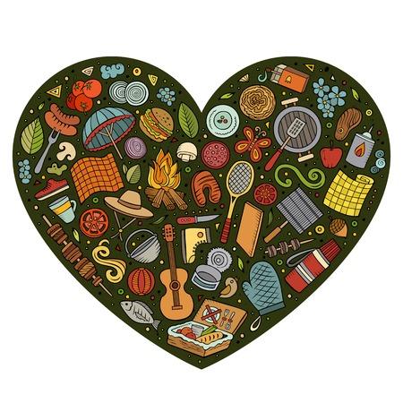 Gezeichneter Satz des bunten Vektors Hand des Picknickkarikaturgekritzels wendet, Symbole und Einzelteile ein. Herz Zusammensetzung